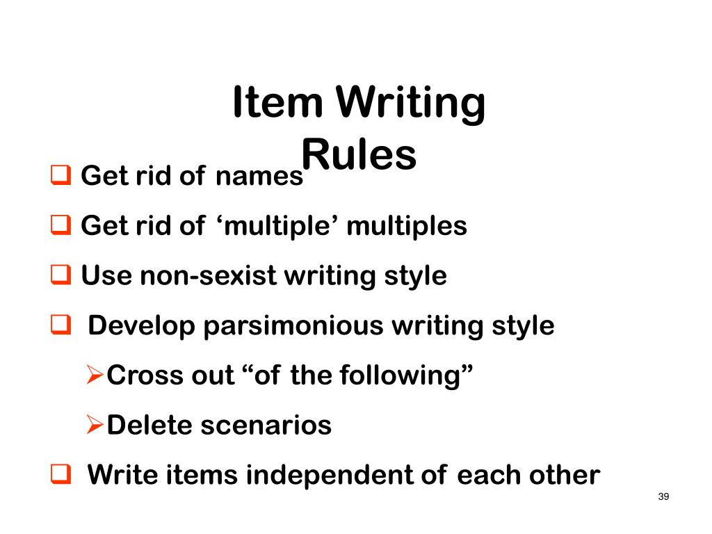 Item Writing Rules