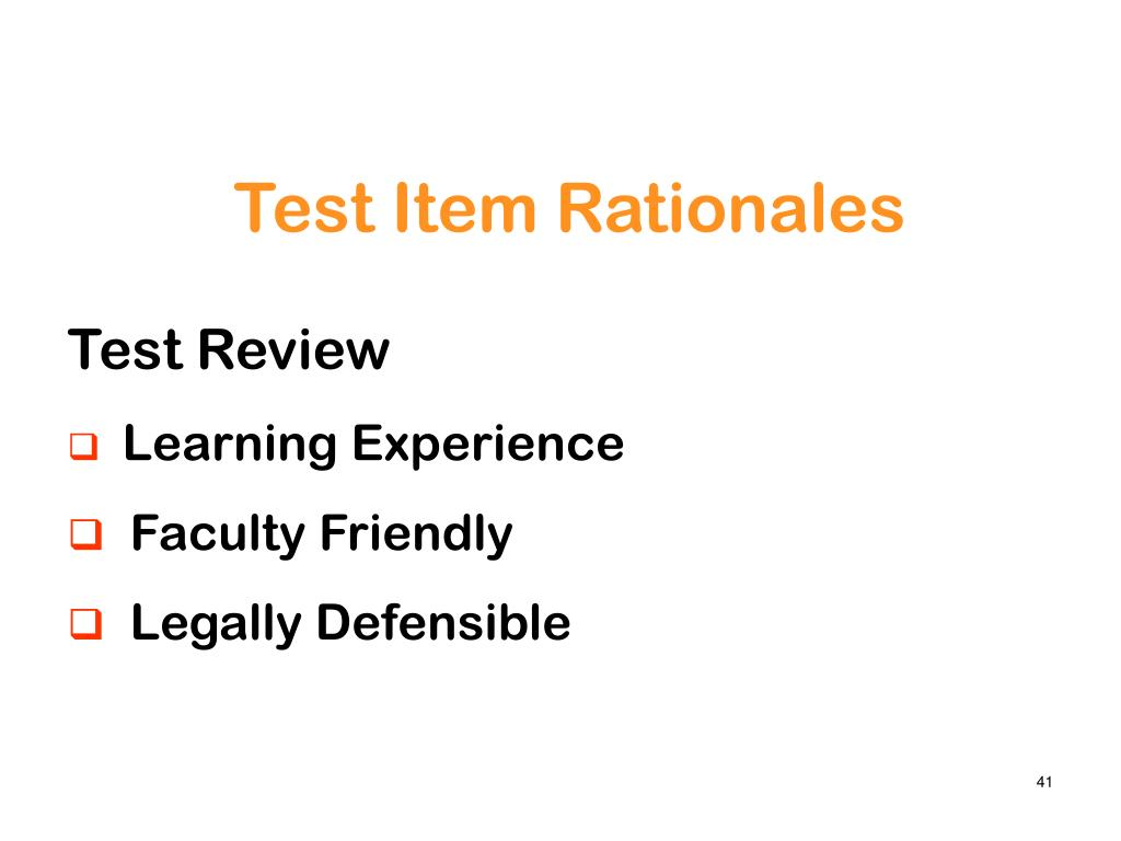 Test Item Rationales