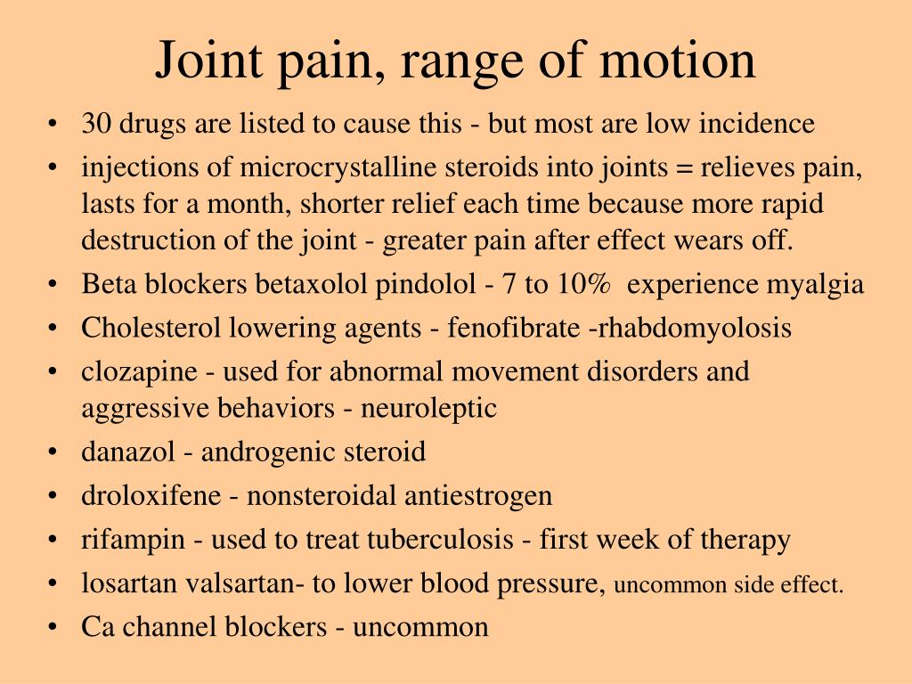 Joint pain, range of motion