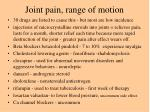 joint pain range of motion