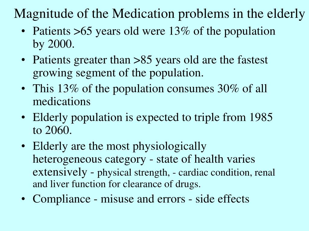 Magnitude of the Medication problems in the elderly