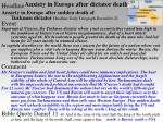 anxiety in europe after dictator death
