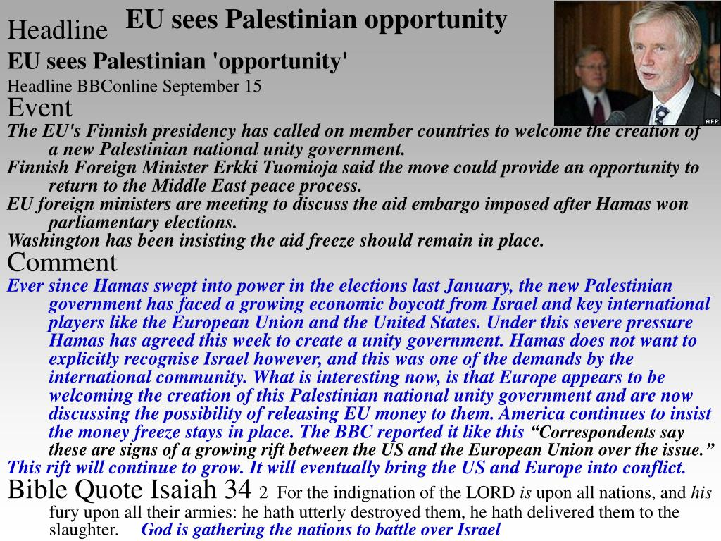 EU sees Palestinian opportunity