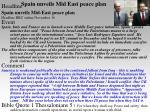 spain unveils mid east peace plan