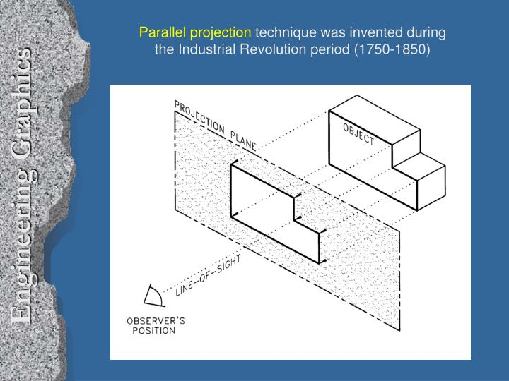 Parallel projection technique was invented during the industrial revolution period 1750 1850