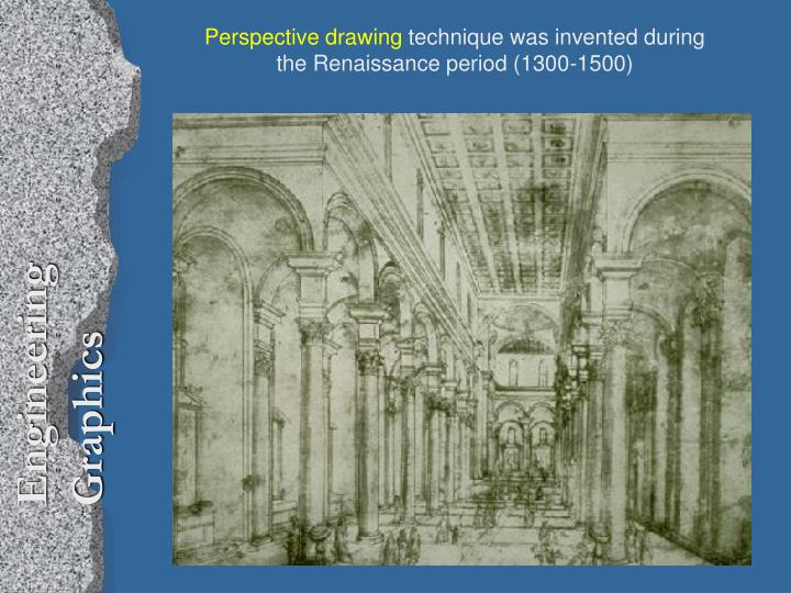 Perspective drawing technique was invented during the renaissance period 1300 1500