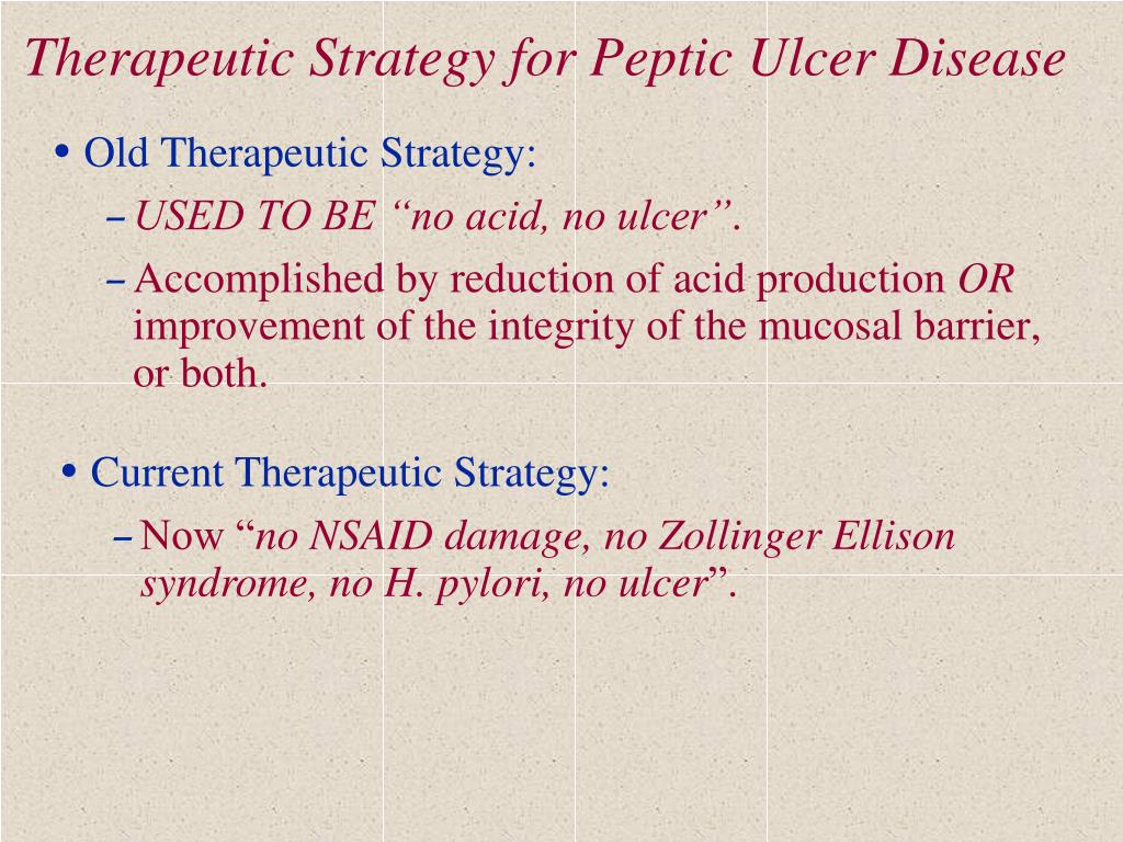 Therapeutic Strategy for Peptic Ulcer Disease