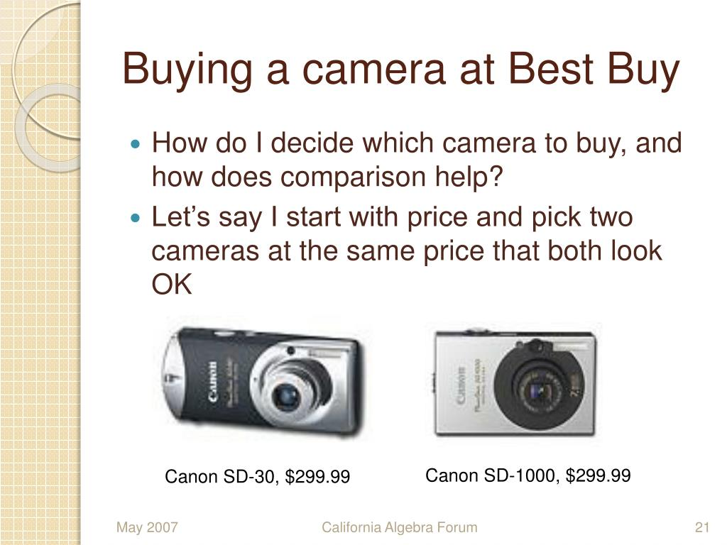 Buying a camera at Best Buy