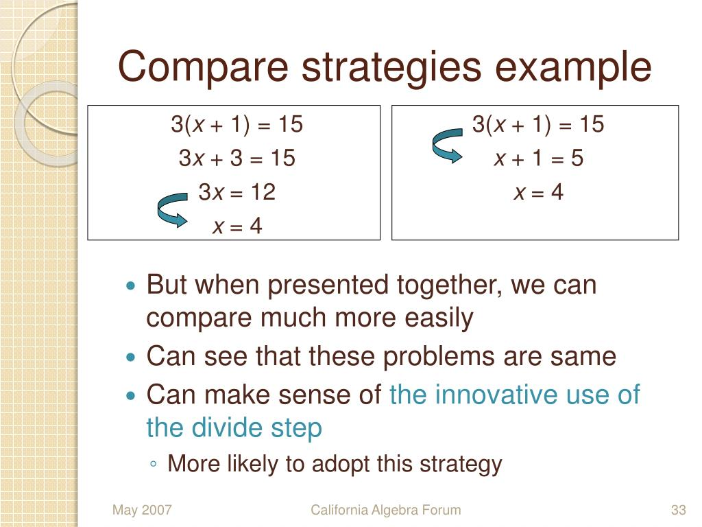 Compare strategies example