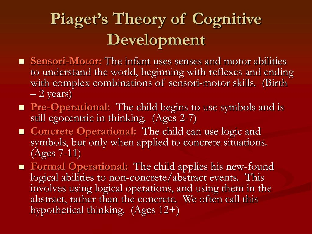 piagets theory of cognitive development Jean piaget was a swiss psychologist who studied the development of cognitive processes from infancy through adulthood piaget often spoke about the relationship between cognitive development and language skills, but he was never exclusively focused on childhood language development piaget's.