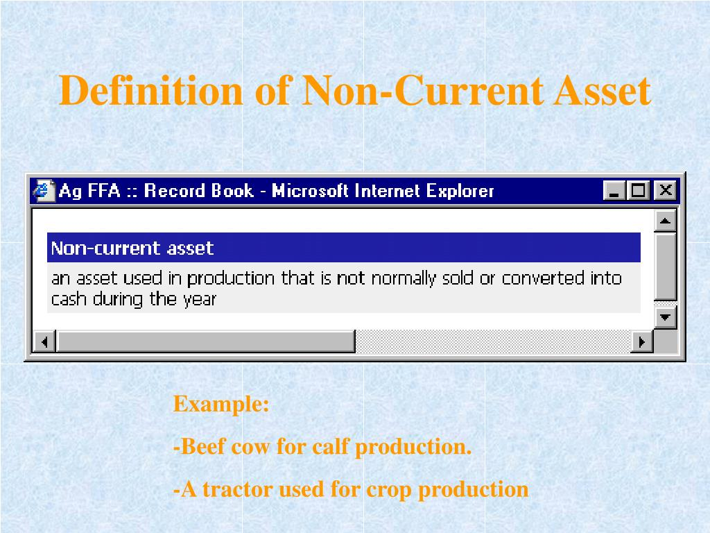 Definition of Non-Current Asset