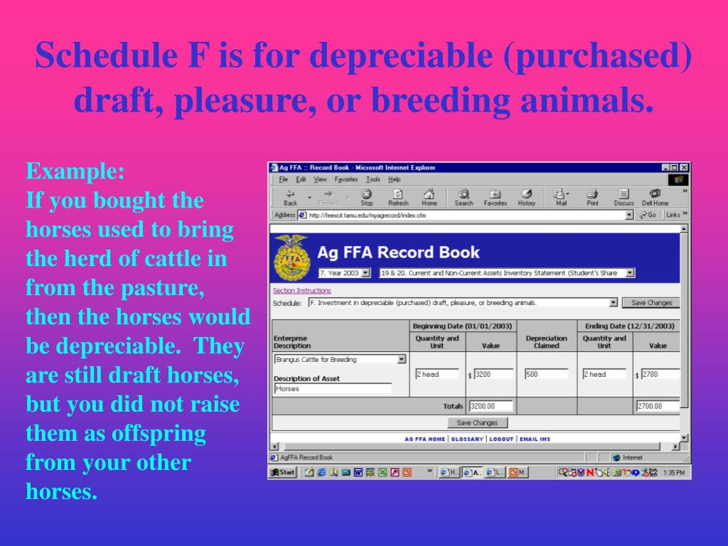 Schedule F is for depreciable (purchased) draft, pleasure, or breeding animals.