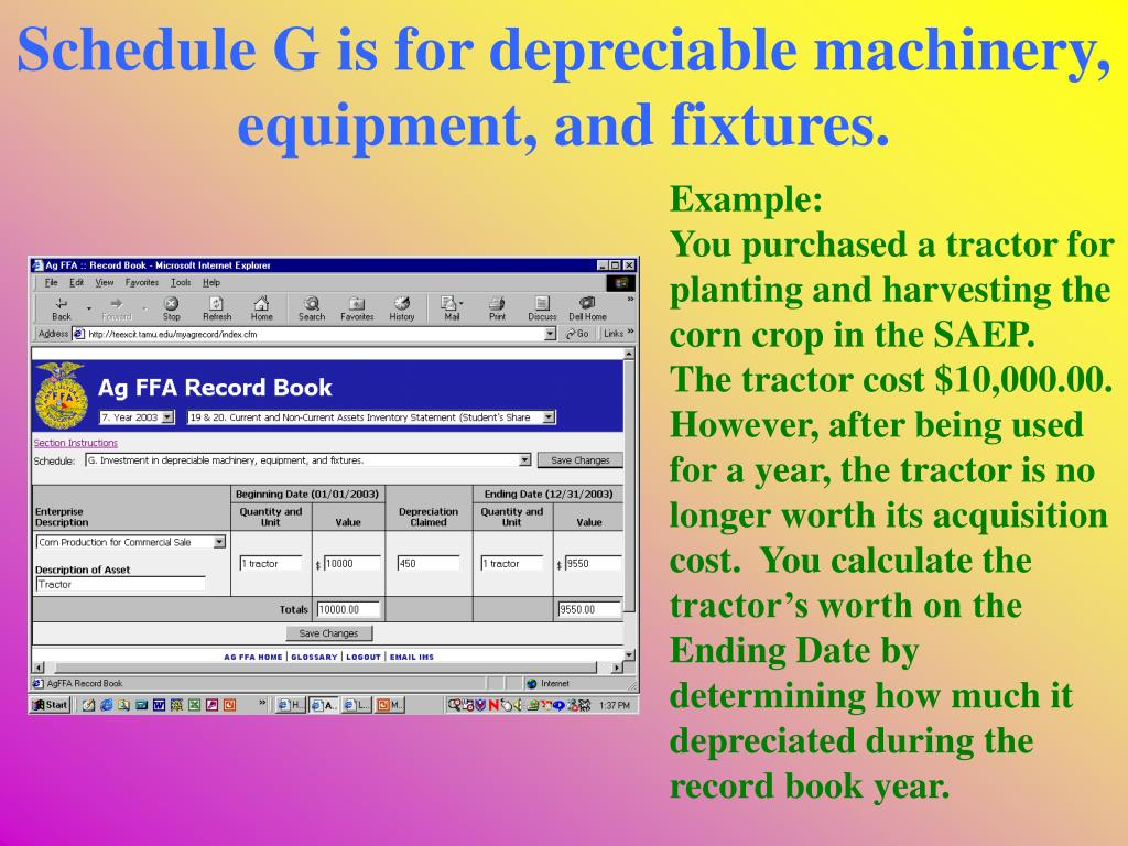 Schedule G is for depreciable machinery, equipment, and fixtures.