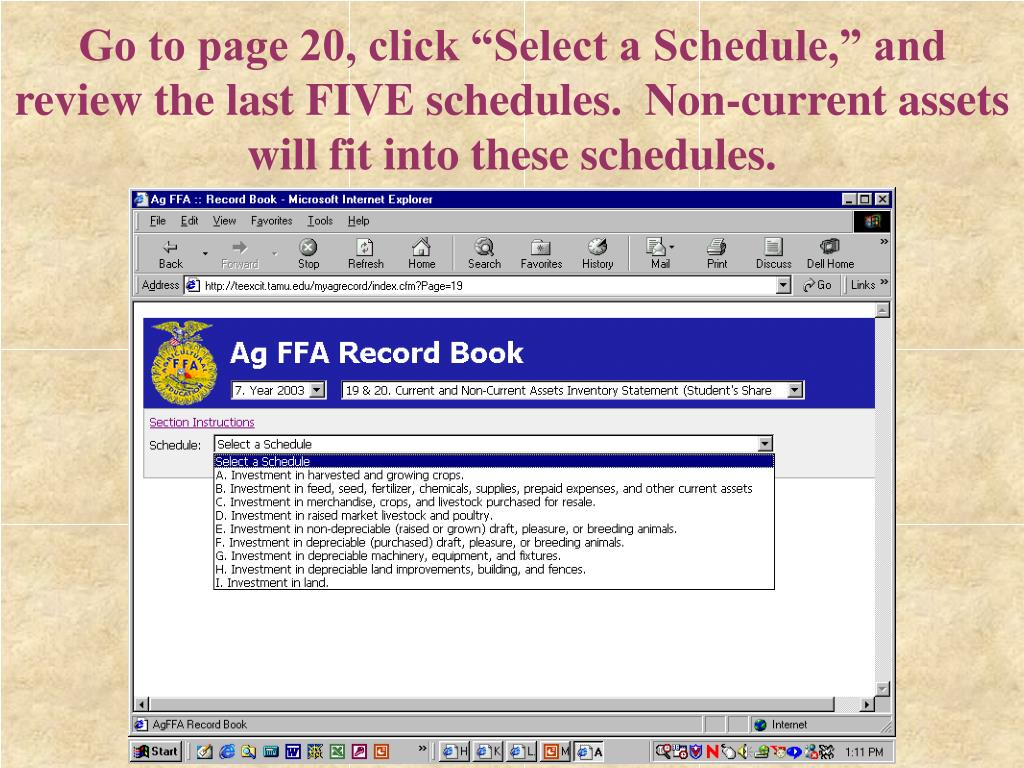 "Go to page 20, click ""Select a Schedule,"" and review the last FIVE schedules.  Non-current assets will fit into these schedules."