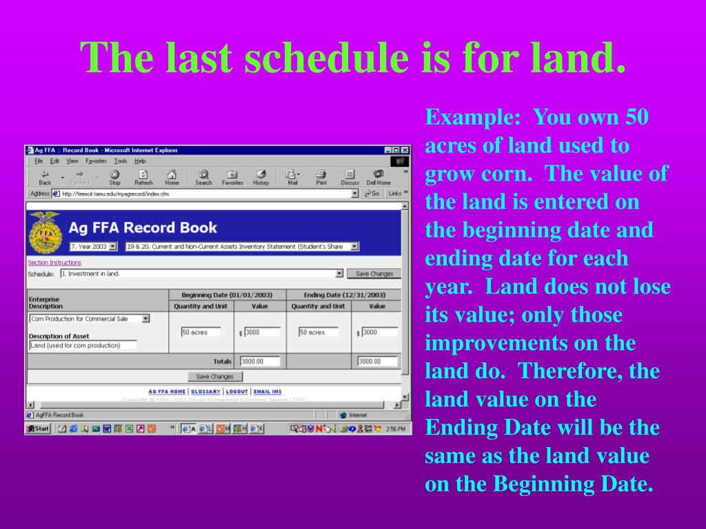 The last schedule is for land.