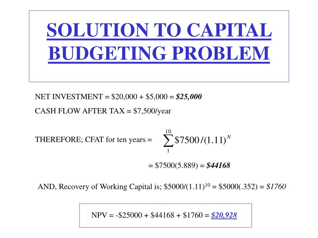 SOLUTION TO CAPITAL BUDGETING PROBLEM