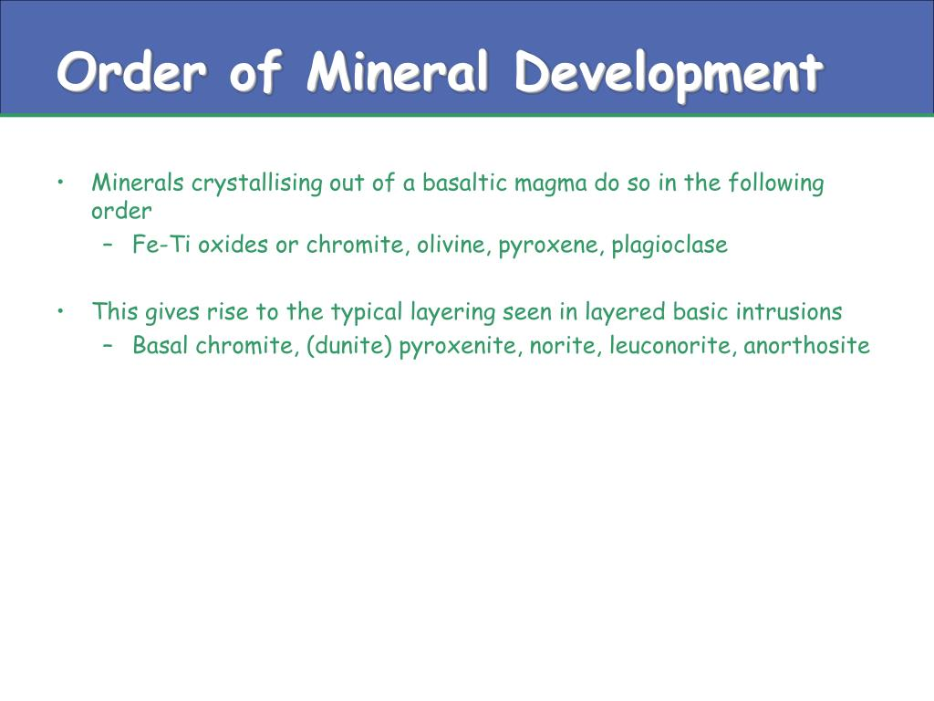Order of Mineral Development