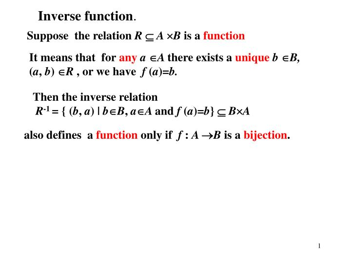 Inverse function