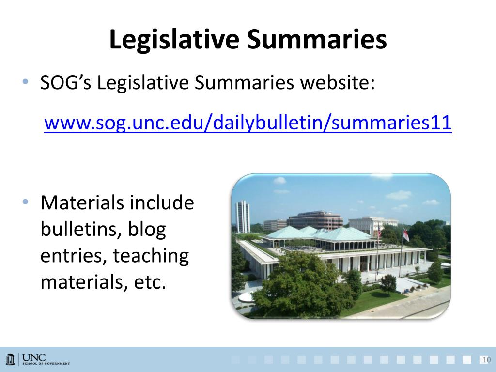 Legislative Summaries