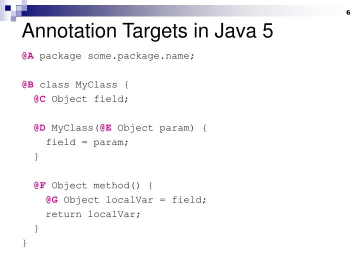 Annotation Targets in Java 5