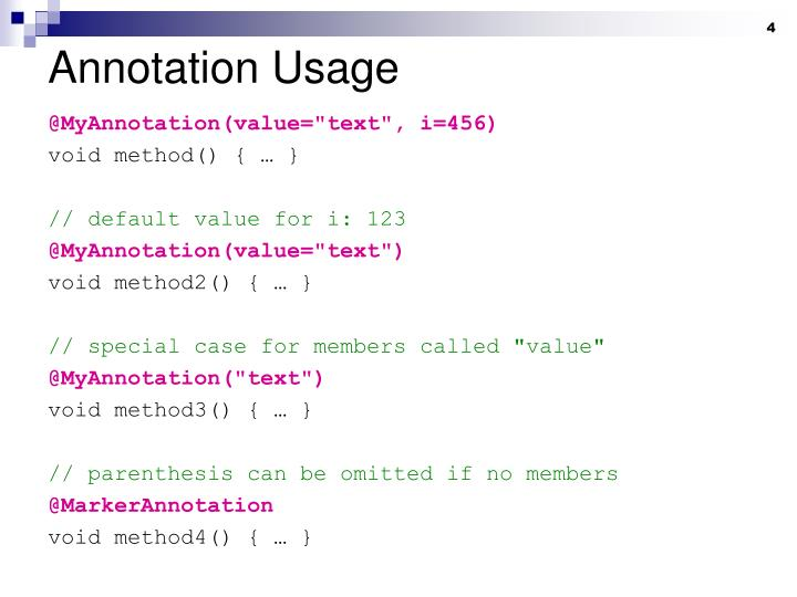 Annotation Usage