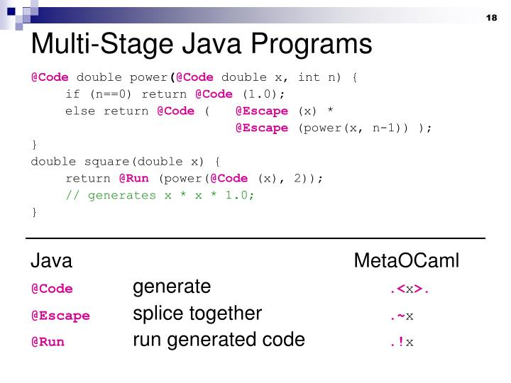 Multi-Stage Java Programs