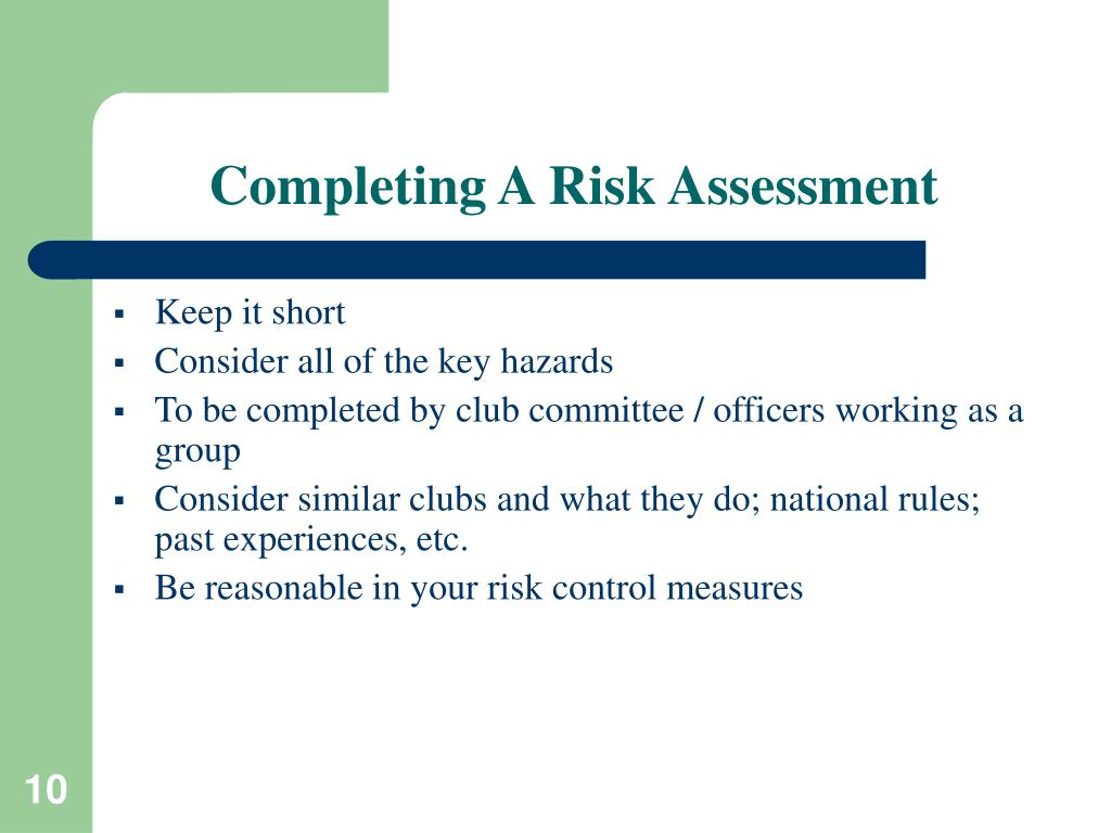 Completing A Risk Assessment