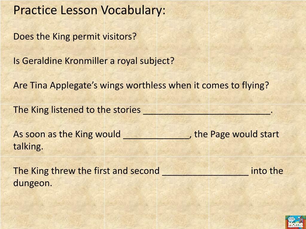 Practice Lesson Vocabulary:
