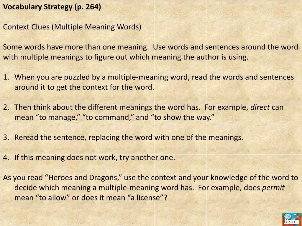 Vocabulary Strategy (p. 264)