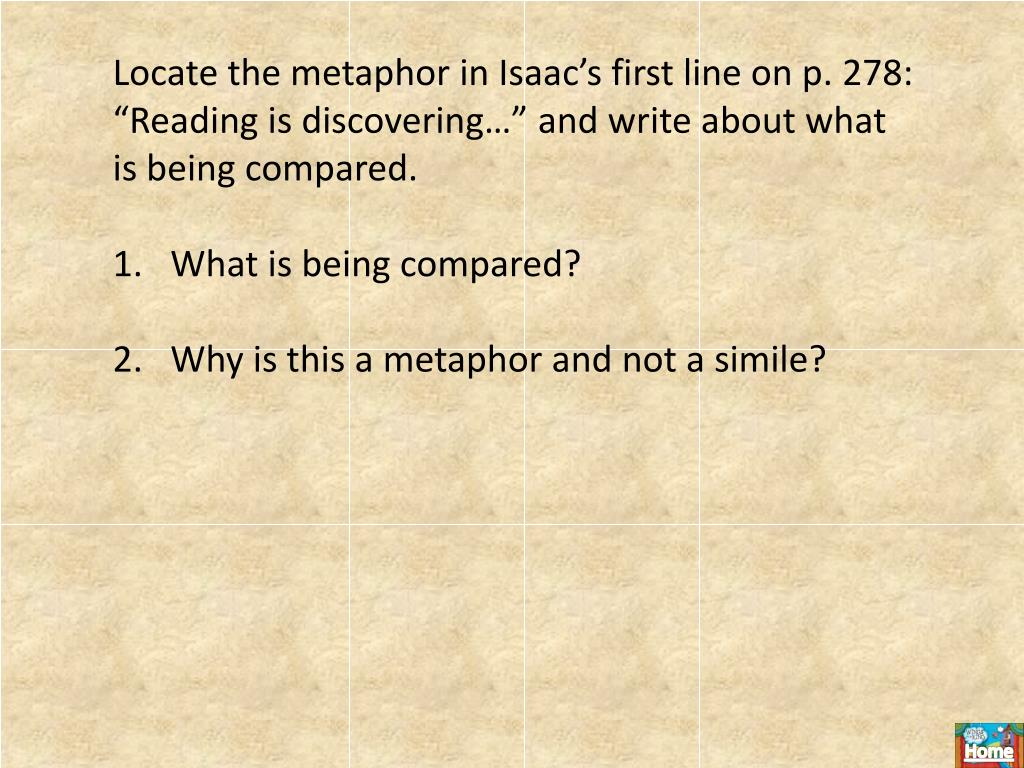 """Locate the metaphor in Isaac's first line on p. 278:  """"Reading is discovering…"""" and write about what is being compared."""