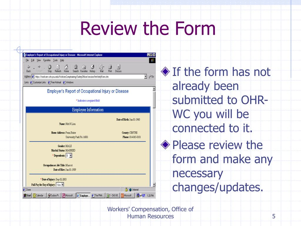 Review the Form