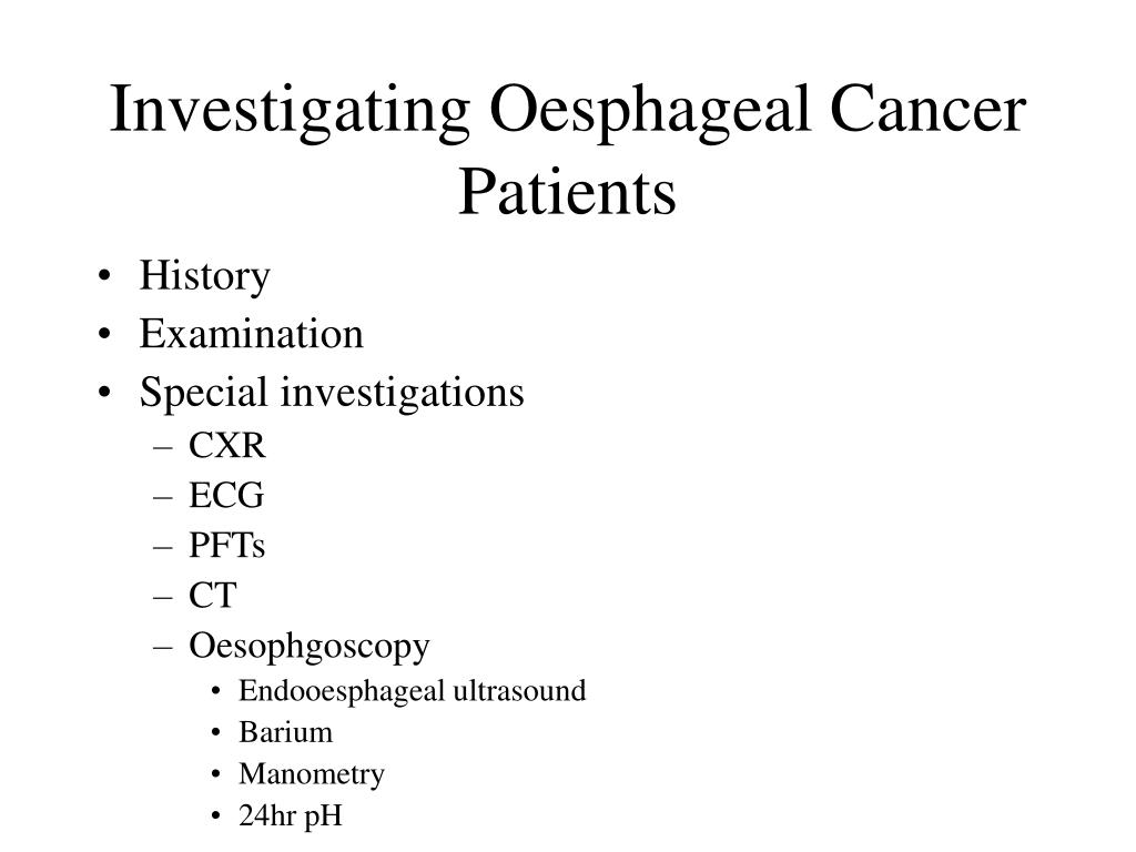 Investigating Oesphageal Cancer Patients
