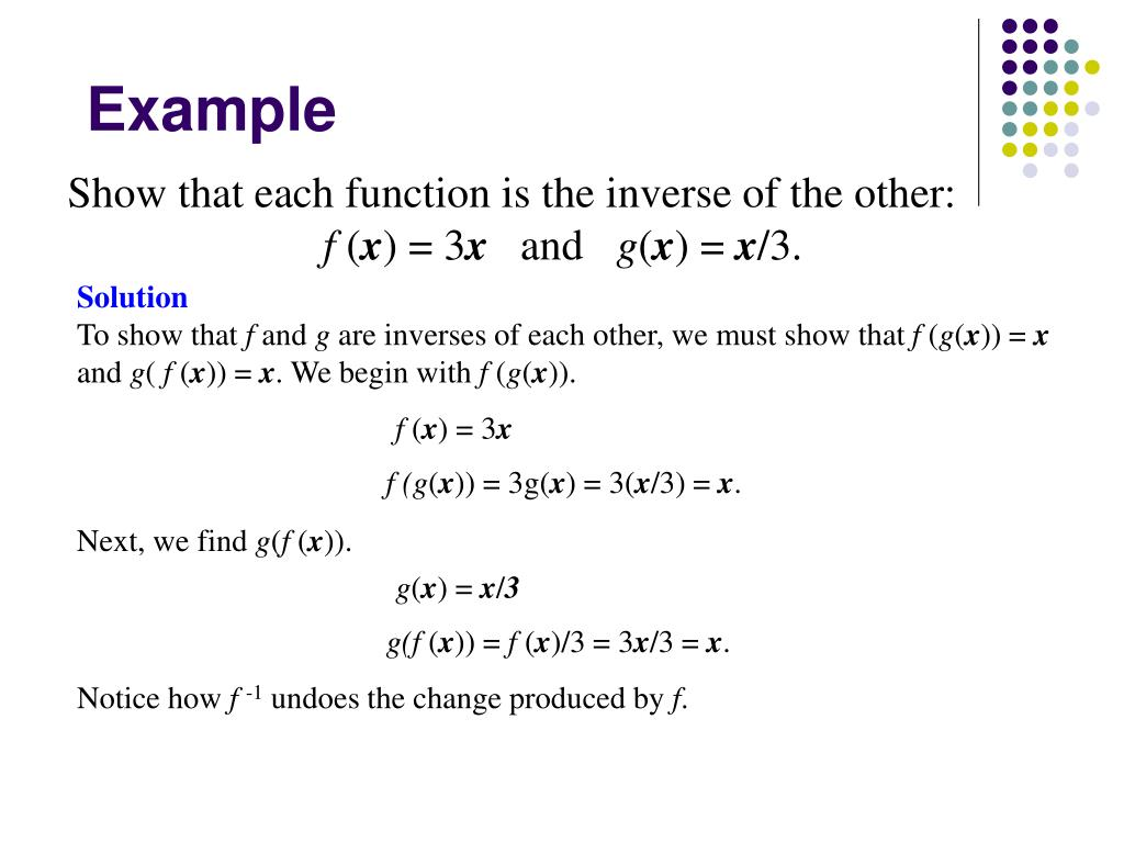 Show that each function is the inverse of the other: