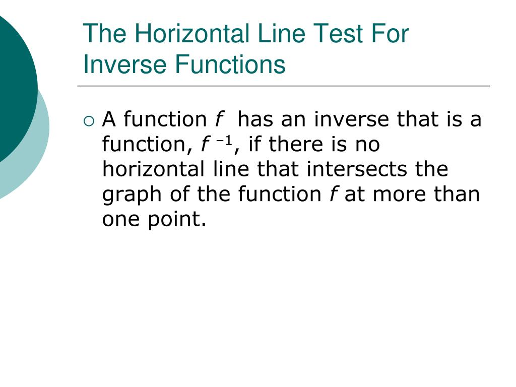 The Horizontal Line Test For Inverse Functions