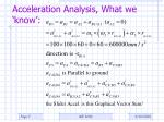 acceleration analysis what we know