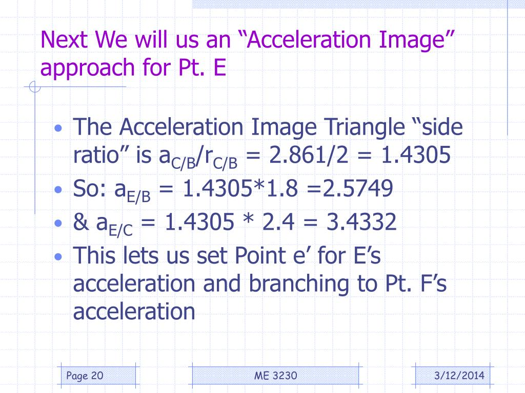 "Next We will us an ""Acceleration Image"" approach for Pt. E"