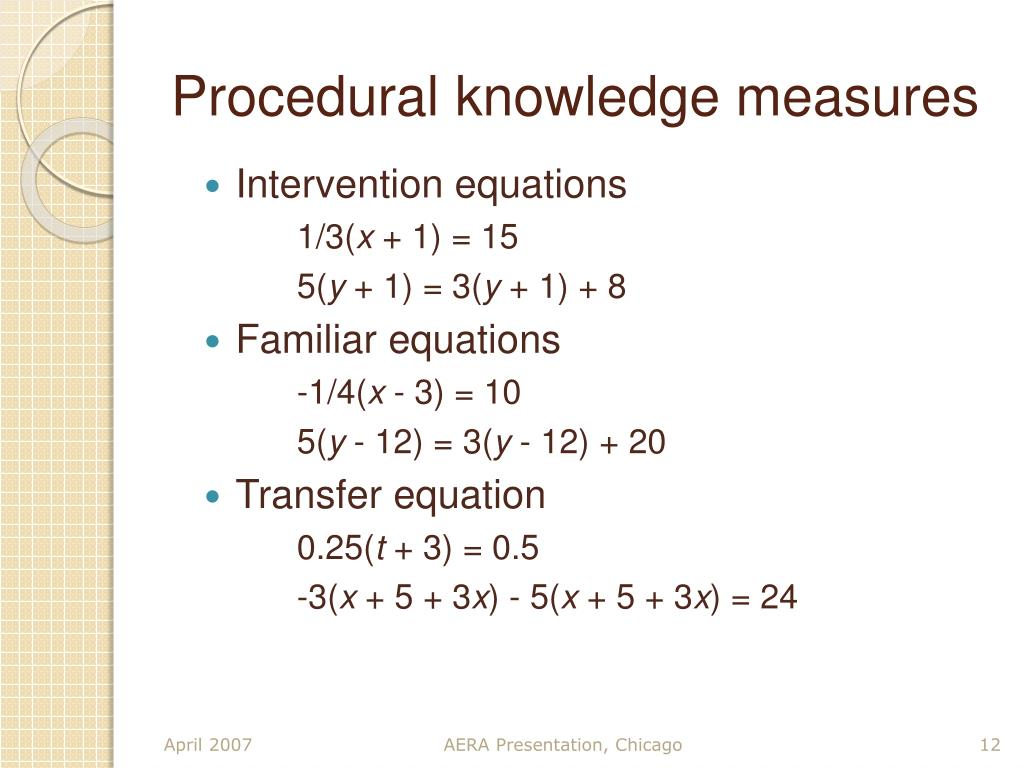 Procedural knowledge measures