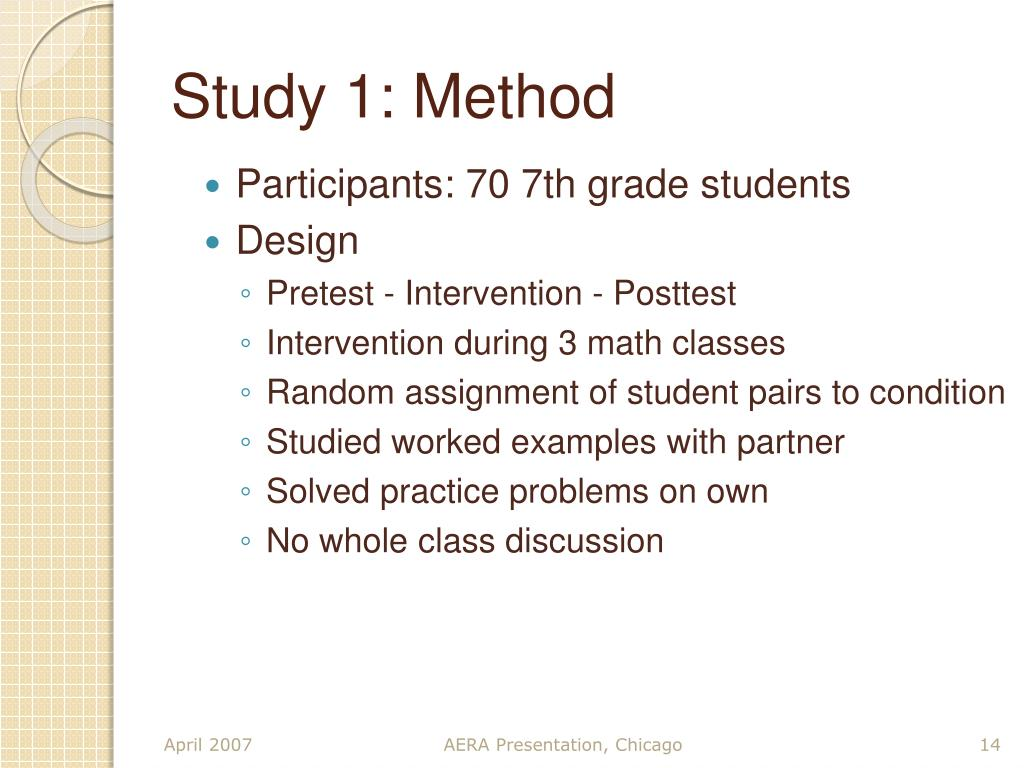 Study 1: Method