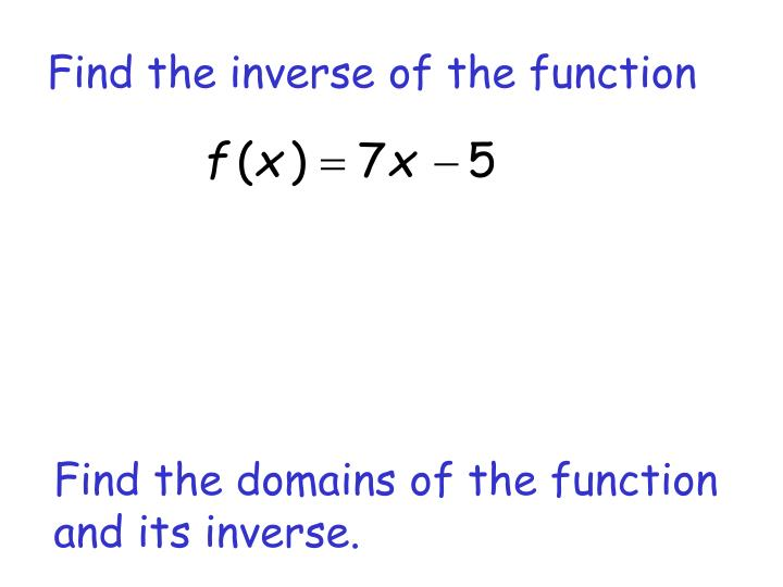 Find the inverse of the function