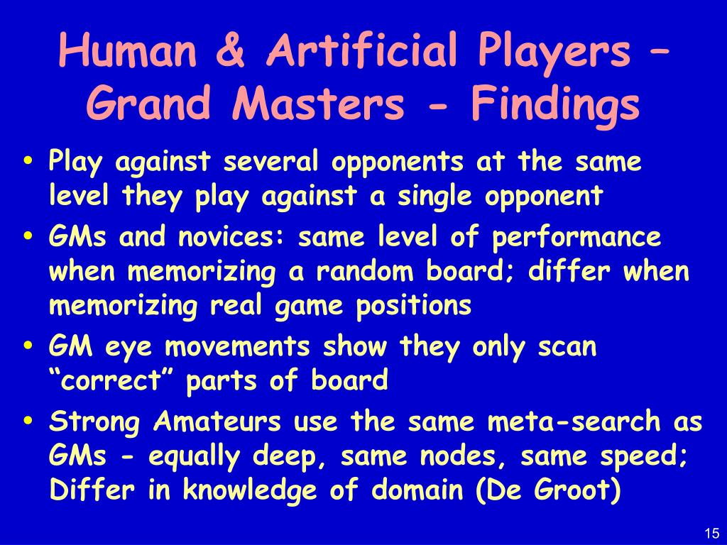 Human & Artificial Players – Grand Masters - Findings
