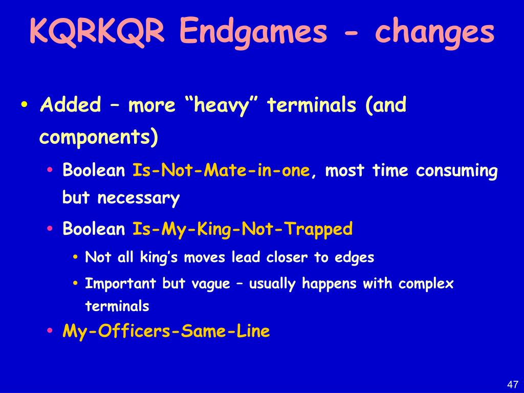 KQRKQR Endgames - changes