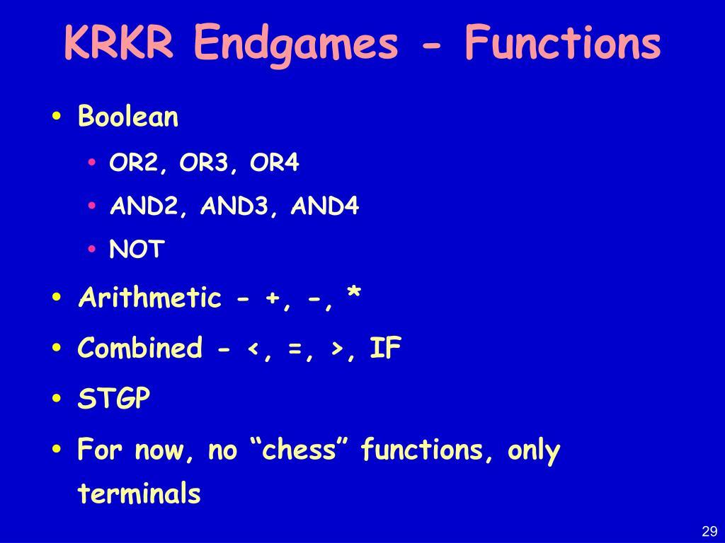 KRKR Endgames - Functions