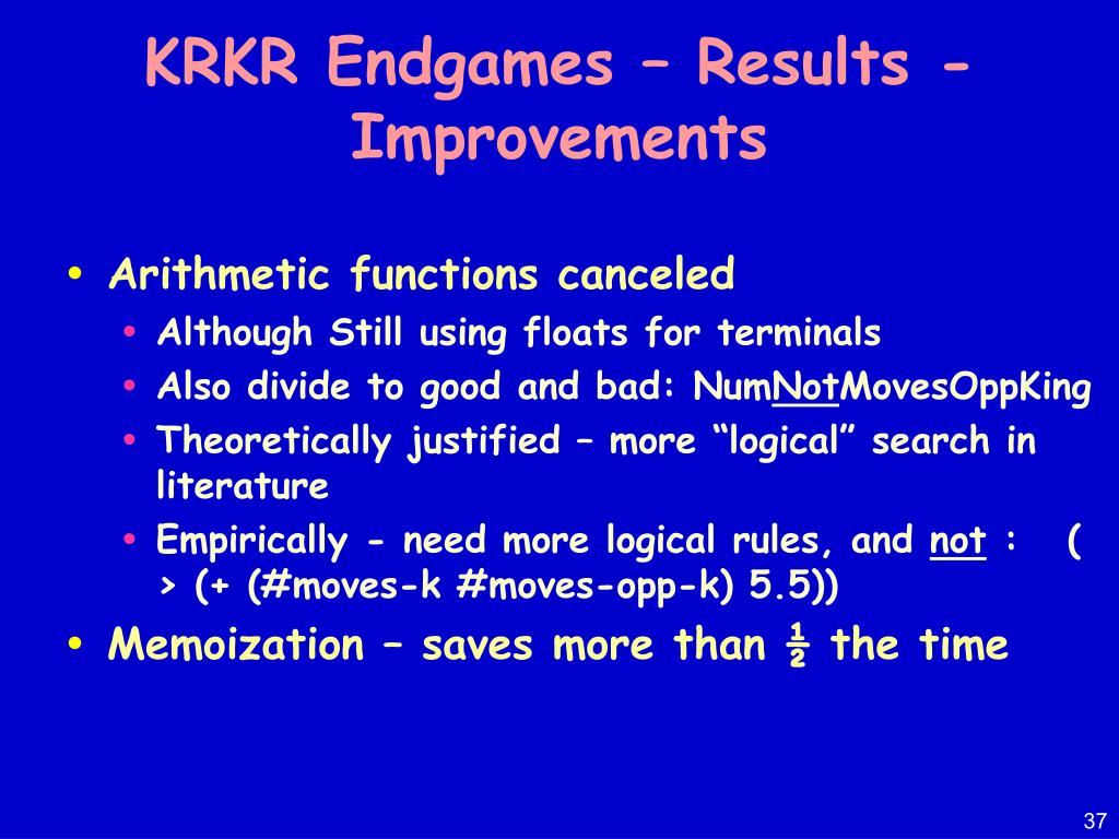 KRKR Endgames – Results - Improvements