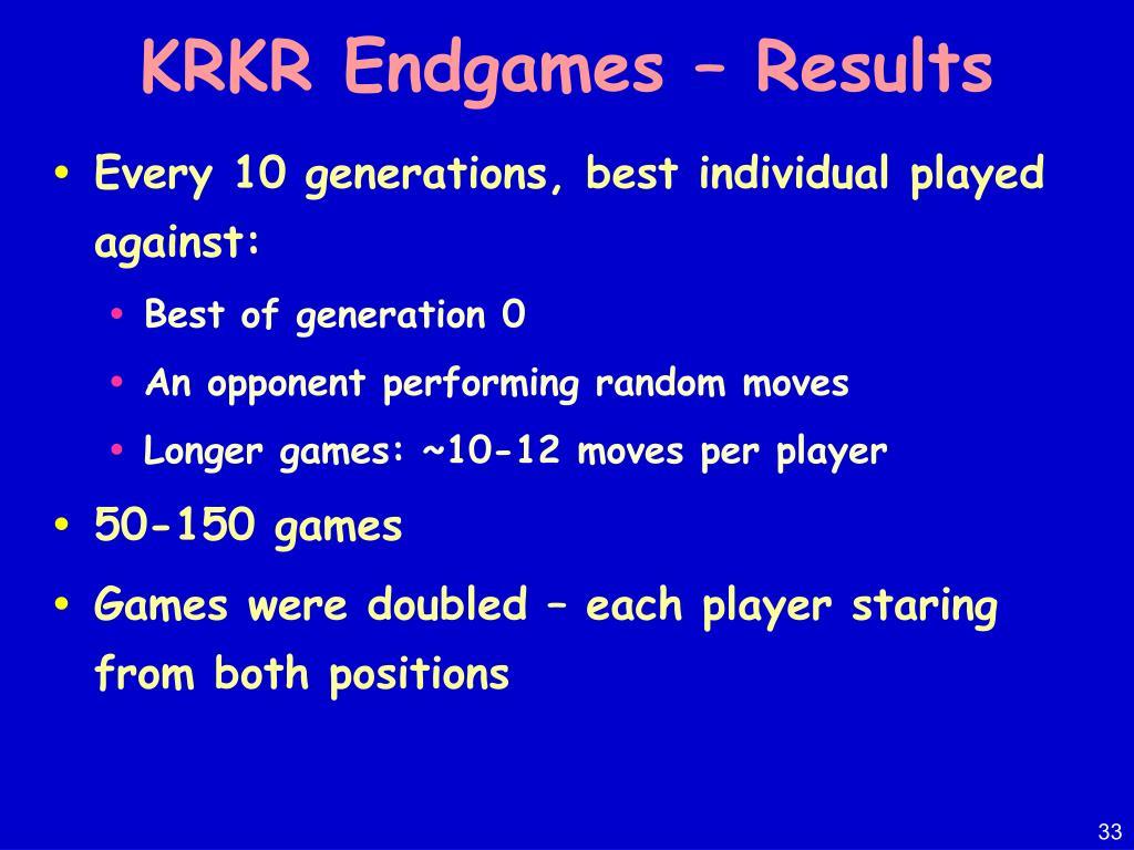 KRKR Endgames – Results