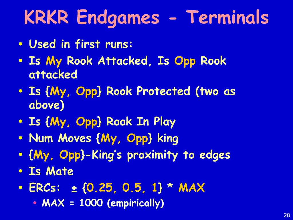 KRKR Endgames - Terminals