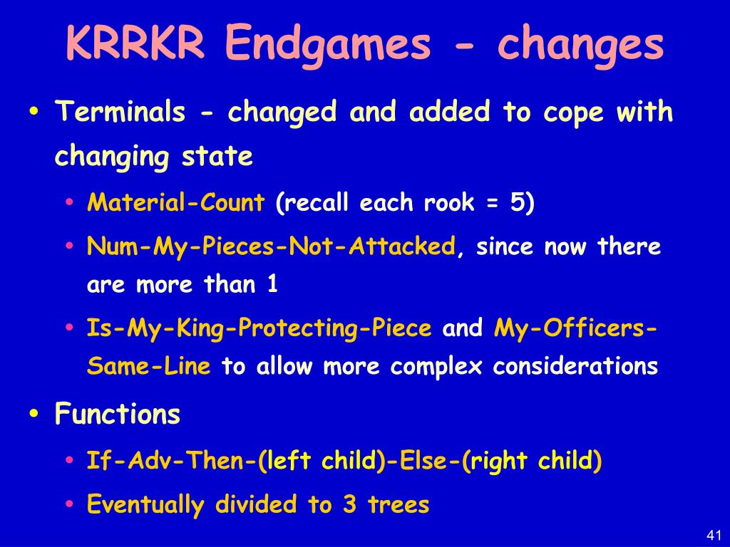 KRRKR Endgames - changes