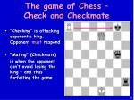 the game of chess check and checkmate