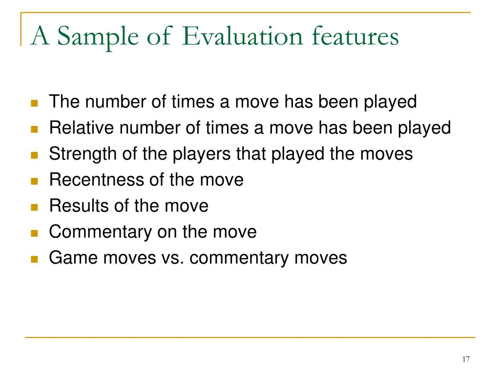 A Sample of Evaluation features