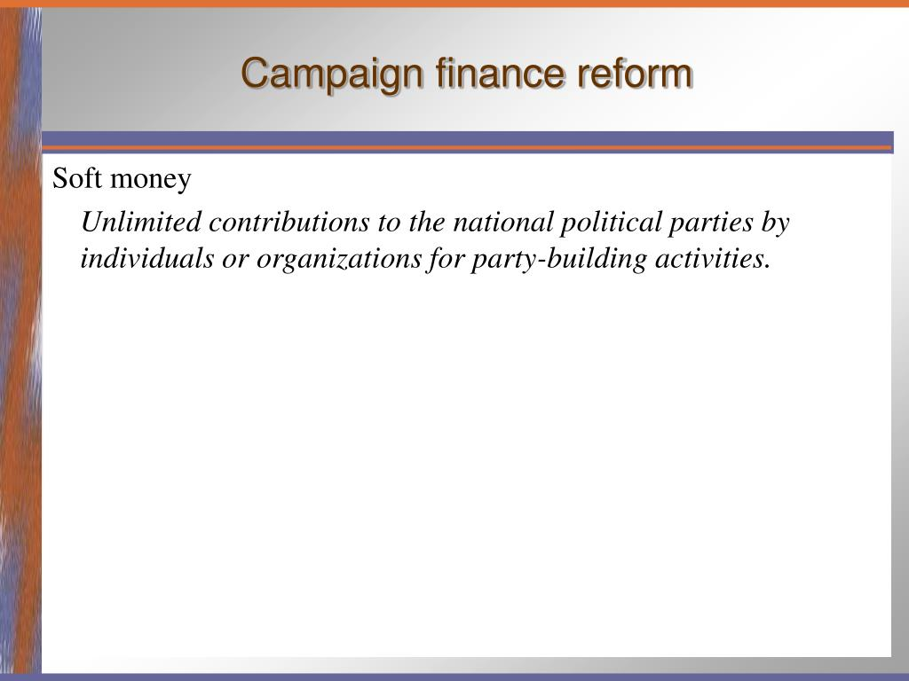 an analysis of campaign finance reform Political reform division  simply start by selecting either campaign finance  lobbying finance analysis reports are part of an ongoing series of studies that.