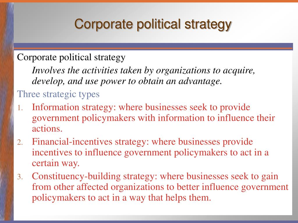 Corporate political strategy